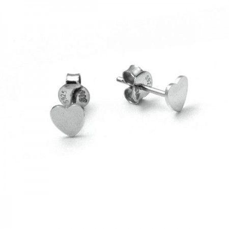 Pendientes pequeños corazon plata