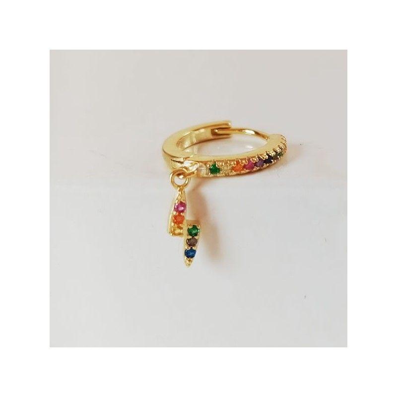 Piercing Oro Rayo Circonitas Colores