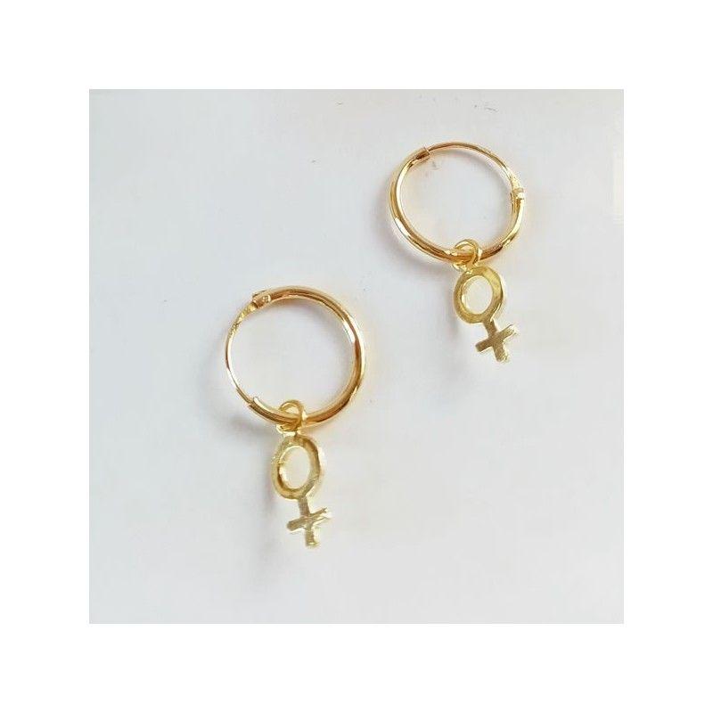 Pendientes Aro Dorados simbolo mujer