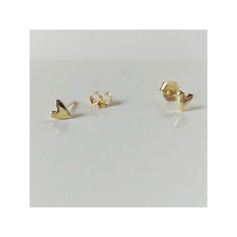 Mini Pendientes Corazon Oro