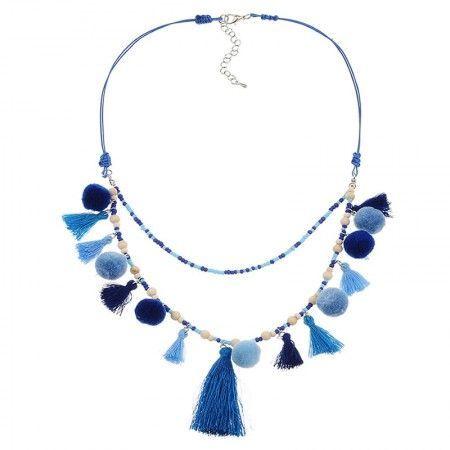 Collar Aruba Azul Pompones y borlas