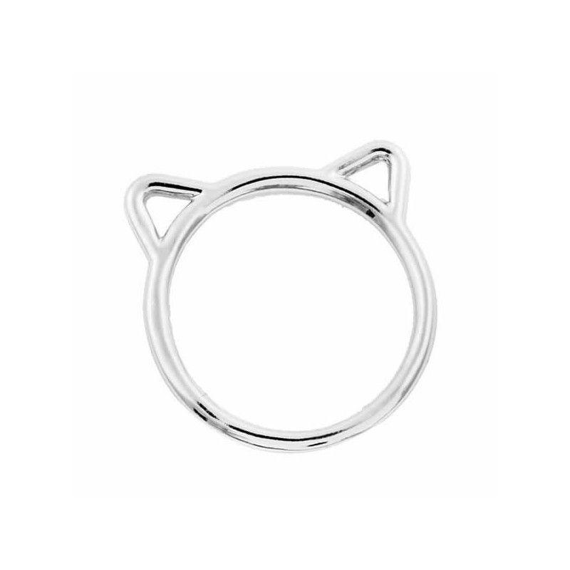 Anillo orejas de gato en plata
