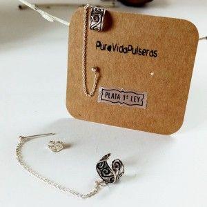 Pendientes ear cuff cadena plata