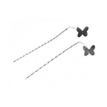 Pendientes de plata de ley con forma de mariposa y cadena colgante de www.puravidapulseras.com