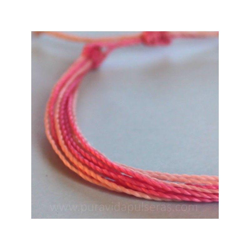 Pulsera de hilo encerado rosa