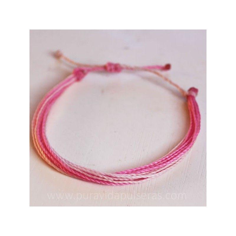 Pulsera de hilo encerado en color rosa