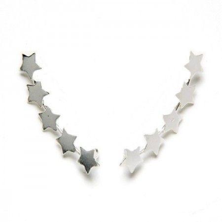 Pendientes trepadores estrellas de plata de ley de www.puravidapulseras.com
