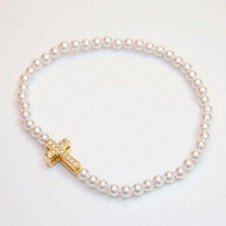 ab8d0663ee2a pulsera de perlas con cruz de plata y baño en oro