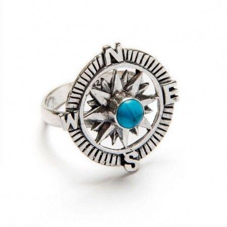 anillo rosa de los vientos con piedra turquesa de plata de ley de www.puravidapulseras.com