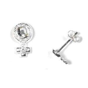 Pendientes simbolo mujer plata y circonitas