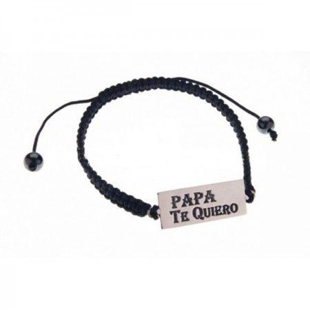 pulsera de macramé negro con placa de plata de ley de www.puravidapulseras.com