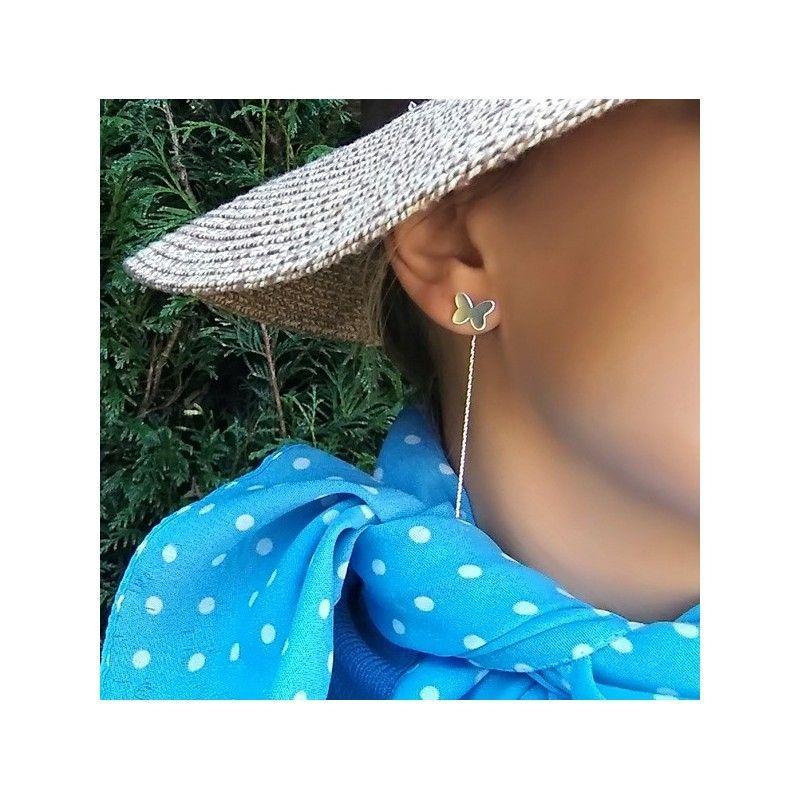 Pendientes mariposa con cadena de plata de ley de www.puravidapulseras.com