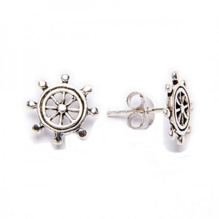 Pendientes de plata de ley de estilo marinero con forma de timón de barco de www.puravidapulseras.com