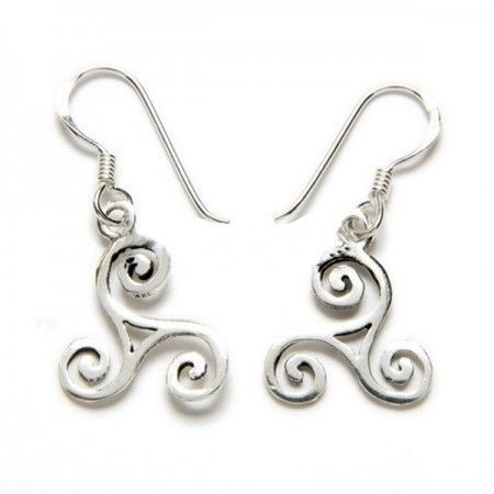 pendientes de plata con forma de trisquel celta de www.puravidapulseras.com