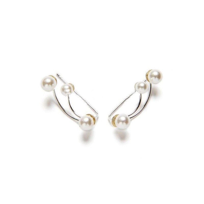 Pendientes trepadores de plata y perlas de www.puravidapulseras.com