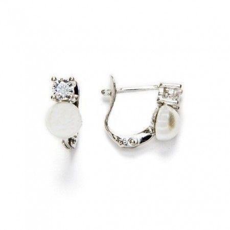 pendientes de perla y circonita de www.puravidapulseras.com