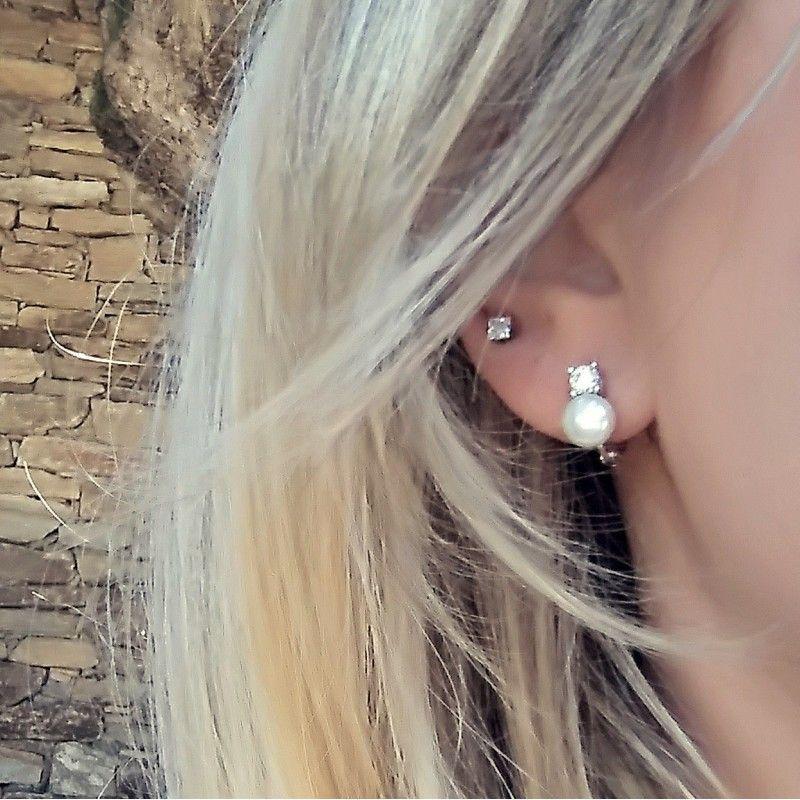 pendientes de plata con perla sintética y circonita de www.puravidapulseras.com