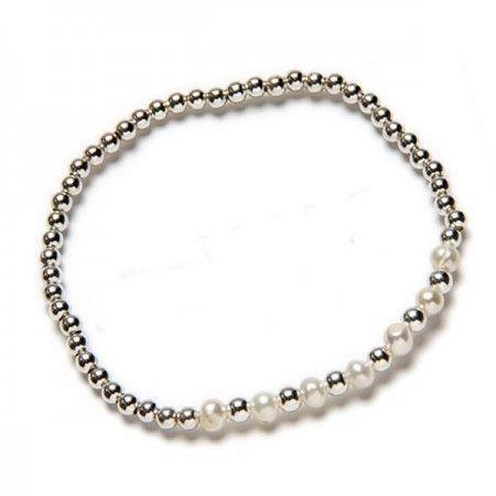 Pulsera con perlas y bolas de plata