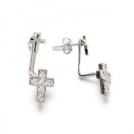 pendientes bajo lobulo con forma de cruz de plata de ley y circonitas de www.puravidapulseras.com