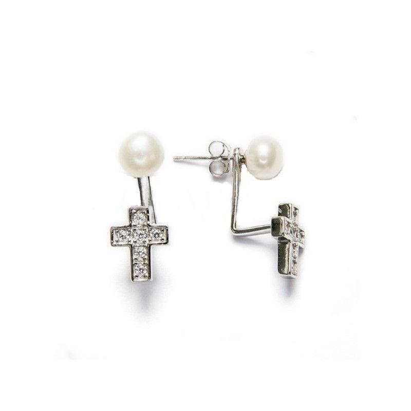 Pendientes bajo el lóbulo realizado en plata de ley con perla y circonitas en www.puravidapulseras.com