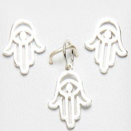 conjunto de plata de ley con el símbolo de la mano de fátima de www.puravidapulseras.com