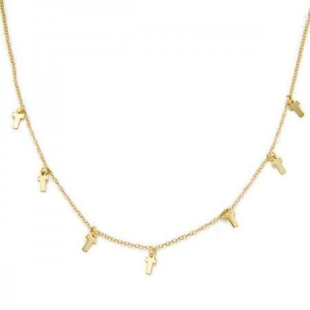 Collar cruces doradas