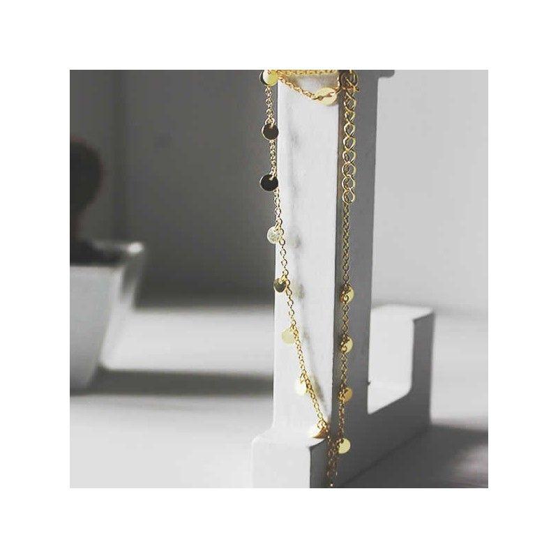 Cadena de chapitas en plata con baño de oro