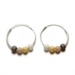 aros de plata con bolitas diamantadas de www.puravidapulseras.com