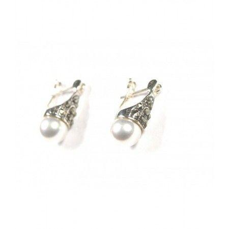 Pendientes de perla y plata de www.puravidapulseras.com