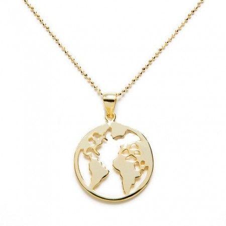 collar mundo en plata de ley con baño de oro de www.puravidapulseras.com