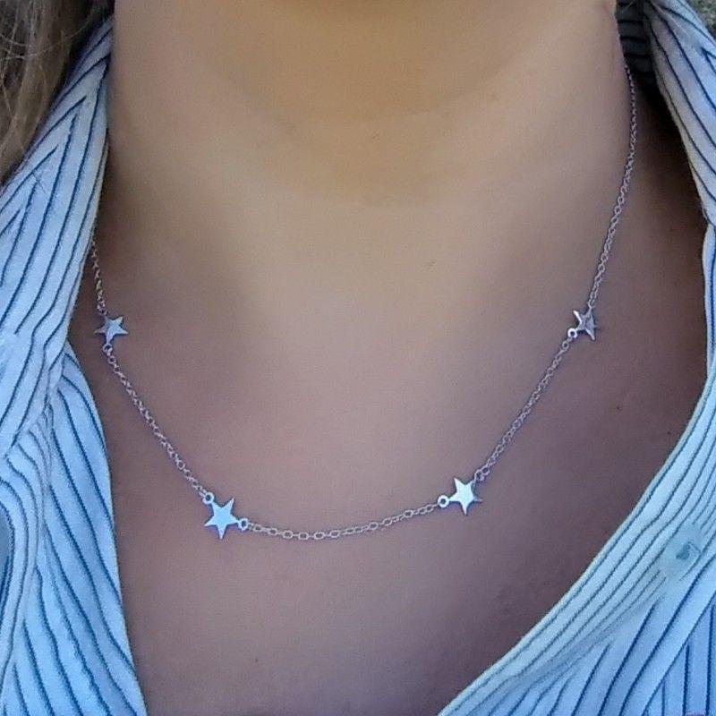 collar estrellas en plata de ley de www.puravidapulseras.com