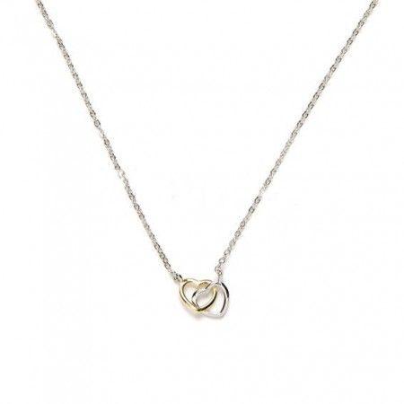 collar en plata de ley rodiada con corazones de www.puravidapulseras.com