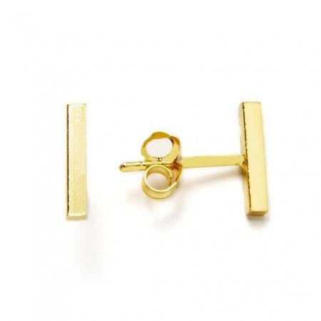 pendientes barra de plata de ley con baño de oro de www.puravidapulseras.com