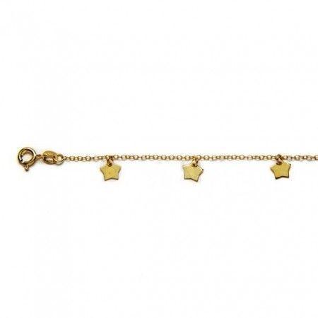 pulsera estrellas de plata con baño de oro de www.puravidapulseras.com