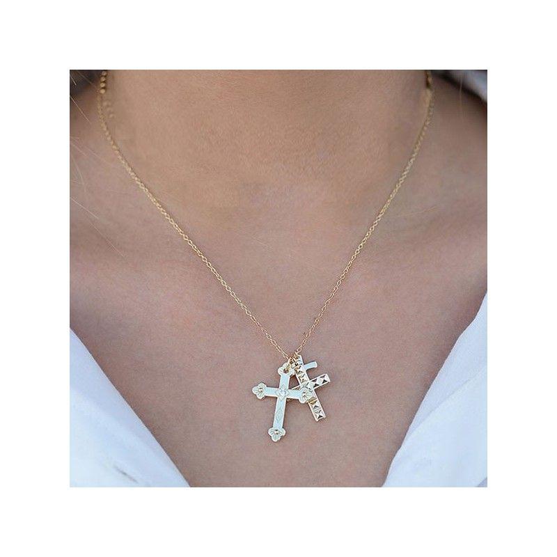 Gargantilla con tres cruces oro
