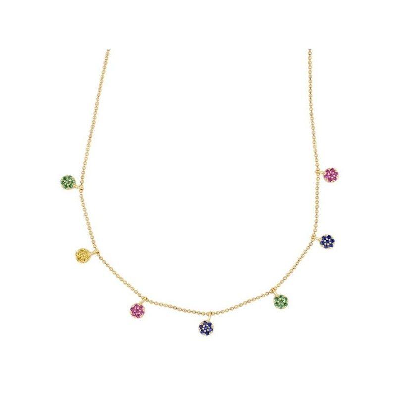 Collar Oro circonitas de colores