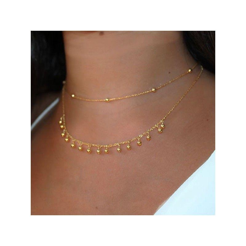 Collar Gaudi Bolitas Oro Combi